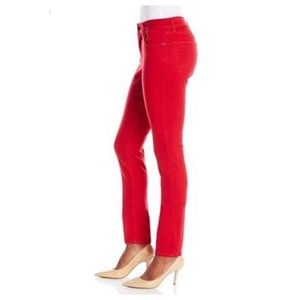 NYDJ Samantha Slim Red Denim Straight Leg Jeans
